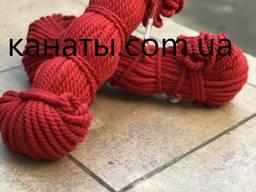 Канат, шнур хлопчатобумажный красный 6мм-100 метров