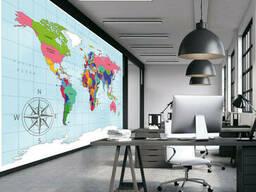 Фотообои карта мира в офис, кабинет на стену 310 см х 280 см