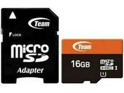 Карта памяти MicroSDHC 16GB UHS-I Class 10 Team + SD-adapter (TUSDH16GUHS03)