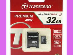 Карта памяти Transcend MicroSD + адаптер 32 GB. Full HD. ..