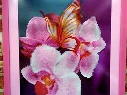 Картина, алмазная вышивка, мозаика, орхидея стразами, кристаллами, паспарту,5D
