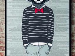 Картина на холсте по номерам №1 постер панно дизайнерское Енот Racoon Три друга 70 см х. ..