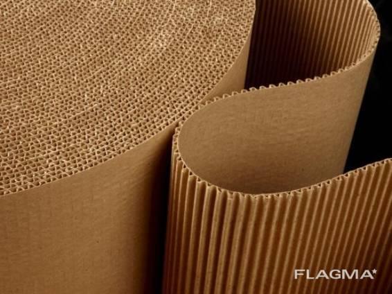 Картонный лист 2х слойный в рулоне1250*20м. п