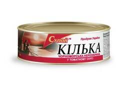 Килька черноморская неразделанная в томатном соусе, 240 г
