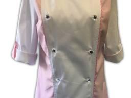 Кітель двобортний жіночий комбі, білий з рожевим, Тканина - TR-MED Голландія.