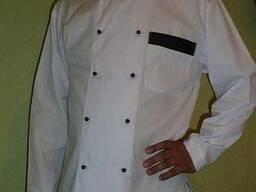 Костюм повара:белый китель с черным кантом, черные брюки