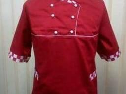 Китель повара бордовый с принтованой отделкой под заказ