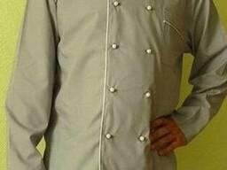 Китель повара с брюками ( бежевый цвет с белым кантом)
