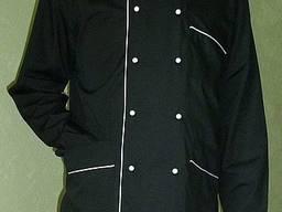 Китель поварской двубортный черный с белым кантом