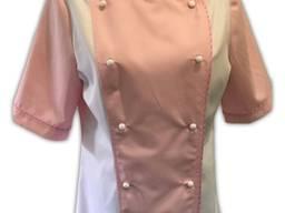 Китель женский двобортный розовый с белый