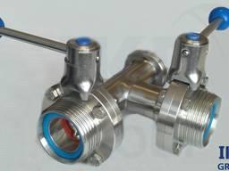 Клапан дисковый (шиберный) 3-х ходовой нержавеющая сталь AISI 304