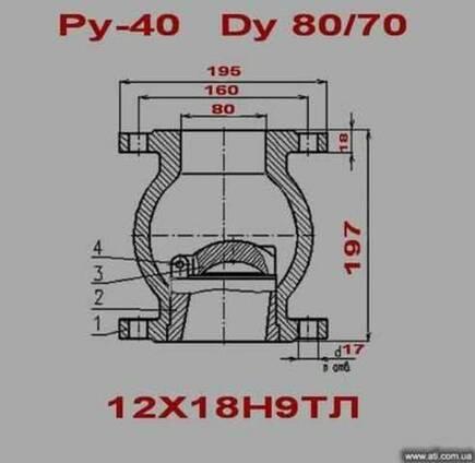 Клапан обратный Ру-40, 80/70, 12х18н9тл -распродажа