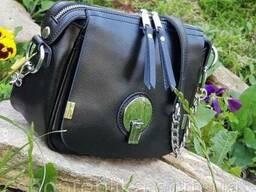 Классическая кожаная черная сумка кросс-боди , кожаные сумки