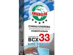 Клей для плитки до 40х40см BCX-33, универсальный, 25кг, Anserglob (шт), клеевая смесь