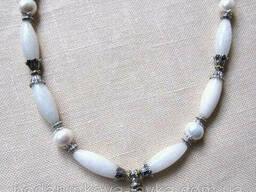 Колье, браслет, серьги - белый жемчуг, белый кварц