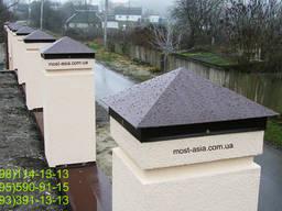 Колпак четырехскатный (пирамида) для забора, шапка из металла на столб заборный