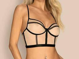 Комплект білизни з бюст'є і трусиками Obsessive Nudelia top, Тілесно-чорний, L/XL