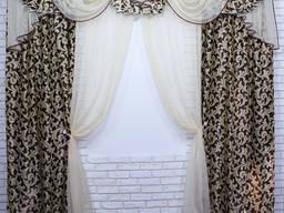 Комплект ламбрекен со шторами на карниз 3м. код 134лш044