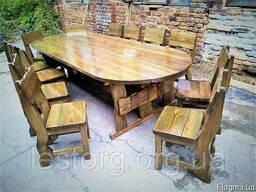Комплект овальной мебели из дерева 3000х1200