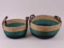 Комплект плетенных корзин 2 шт. из морской травы