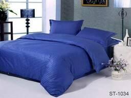 Комплект постільної білизни страйп-сатин Luxury ST, Синій, Сімейні