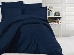 Комплект постільної білизни страйп-сатин Luxury ST, Темно-синій, Сімейні