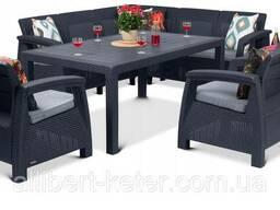 Комплект садових меблів зі штучного ротангу Corfu Dining Duo графіт (Keter)