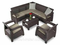 Комплект садових меблів зі штучного ротангу Corfu Relax 7 темно-коричневий (Keter)