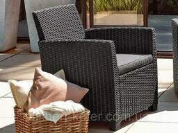 Комплект садових меблів зі штучного ротангу Corona SET WITH Cushion BOX графіт (Allibert)