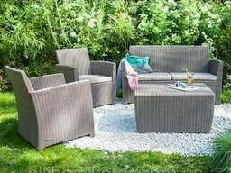 Комплект садових меблів зі штучного ротангу Corona SET WITH Cushion BOX капучіно. ..