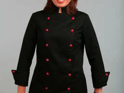 Китель повара колпак повара поварской костюм черный пошив под заказ
