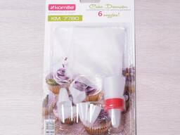 Кондитерский мешок Kamille с переходником и 6 пластиковыми насадками
