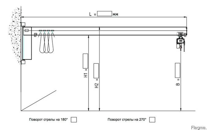 Консольный поворотный настенный кран электрический