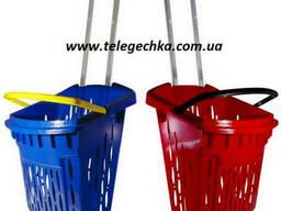 Корзинка Тележка пластиковая для покупателей объем 38 литров
