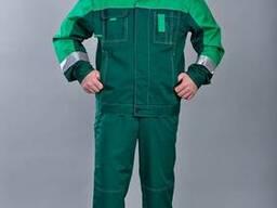 Костюм Азот рабочий,куртка,брюки,мужской,зеленый,саржа,грета