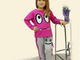 Костюм для девочки с шелкографией (розовый)