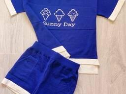 Костюм для дівчинки Sunny Day Синій 110/116 футболкашорти SKL58-252266