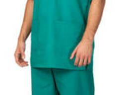Костюм хирурга зеленый куртка брюки колпак