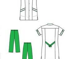 Костюм медицинский Грация (женский) бело-зеленый.