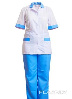 Костюм медицинский белый с голубым