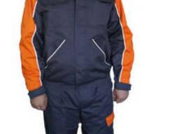 Костюм с курткой и полукомбинезоном серый с оранжевыми встав