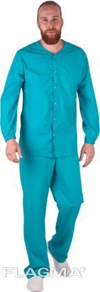 Костюм пекаря мужской, костюм медицинский на кнопках