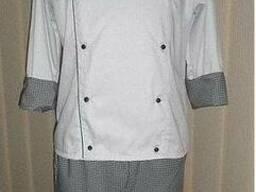 Костюм поварской белый в клетку, китель, брюки, косынка