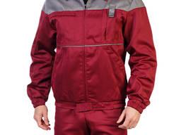 Костюм рабочий бордовый с серой кокеткой (куртка брюки)