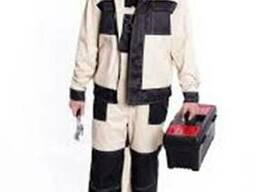 Костюм рабочий демисезонный бежево-черный (куртка и брюки)