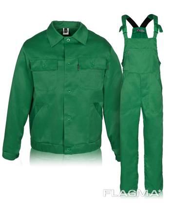 Костюм рабочий, куртка с полукомбинезоном зеленого цвета