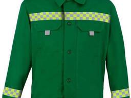 Костюм рабочий куртка полукомбинезон с СВП зеленый