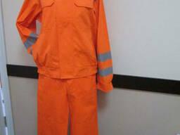 Костюм рабочий оранжевый с СВП , ткань грета , куртка с полукобинезоном