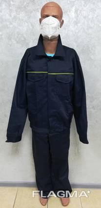 Костюм рабочий демисезонный куртка полукомбинезон ткань саржа синяя