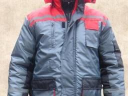 Костюм рабочий утепленный куртка полукомбинезон, серый с красным